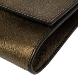 Saint Laurent Gold/Black Textured Leather Belle De Jour Flap Clutch