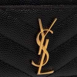 Saint Laurent Black Matelasse Leather Monogram Card Holder
