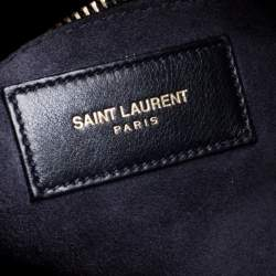 Saint Laurent Navy Blue Leather Large Classic Sac De Jour Tote