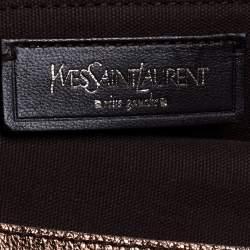 حقيبة يد سان لوران منقوشة شعار جلد ذهبية / بنية ميتالك