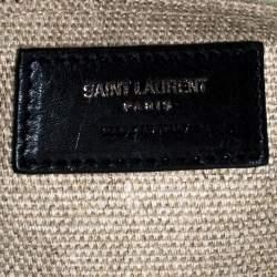Saint Laurent Beige/Black Canvas and Leather Rive Gauche Tote