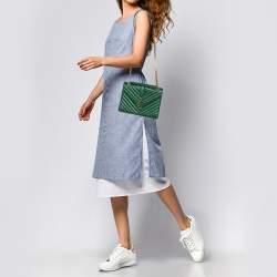 Saint Laurent Green Matelasse Leather Large Cassandre Flap Bag