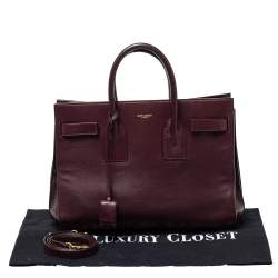 Saint Laurent Burgundy Leather Small Classic Sac De Jour Tote