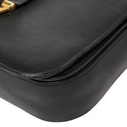 Saint Laurent Black Leather Y-Ligne Flap Crossbody Bag