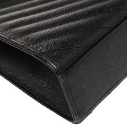 Saint Laurent Black Chevron Leather Large Cassandre Flap Bag