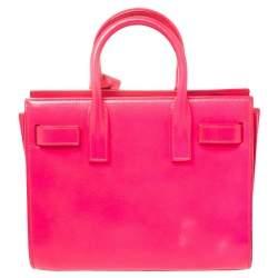 Saint Laurent Neon Pink Leather Nano Classic Sac De Jour Tote