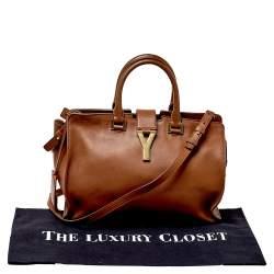 Saint Laurent Brown Leather Small Cabas Y-Ligne Tote