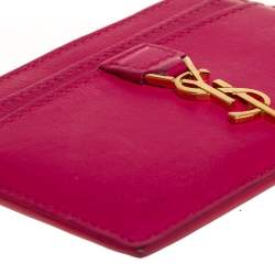 Saint Laurent Fuchsia Leather Monogram Card Holder