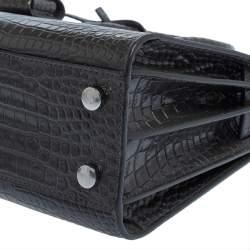 Saint Laurent Grey Croc Embossed Leather Nano Classic Sac De Jour Tote