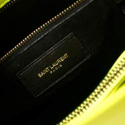 Saint Laurent Neon Green Leather Small Classic Sac De Jour Tote