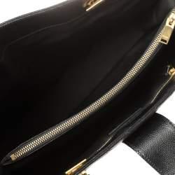 Saint Laurent Black Matelasse Leather Cassandre Shopper Tote