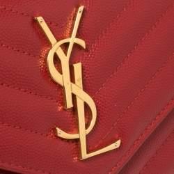 Saint Laurent Red Matelasse Leather Monogram Envelope Wallet
