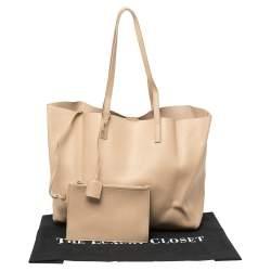Saint Laurent Beige Leather E/W Shopper Tote