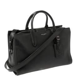 حقيبة سان لوران جين جلد أسود متوسطة