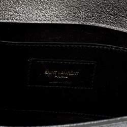 Saint Laurent Metallic Silver Grained Leather Kate Clutch