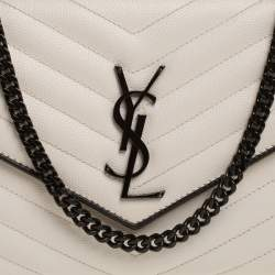 Saint Laurent White/Black Matelasse Leather Monogram Envelope Wallet on Chain