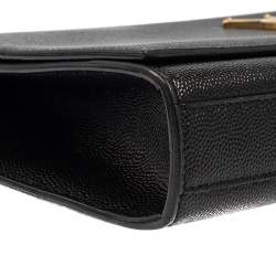 Saint Laurent Black Grained Leather Kate Monogram Clutch