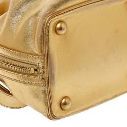 Saint Laurent Metallic Gold Leather Emmanuelle Drawstring Bucket Bag