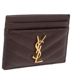 Saint Laurent Maroon Matelasse Leather Monogram Card Holder