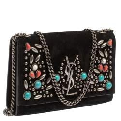 Saint Laurent Black Suede Small Stone Studded Kate Crossbody Bag