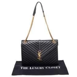 Saint Laurent Black Quilted Leather Envelope Shoulder Bag