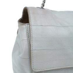 Saint Laurent Paris White Crocodile-Embossed Leather Flap Bag