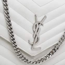 Saint Laurent White Leather Envelope Wallet On Chain