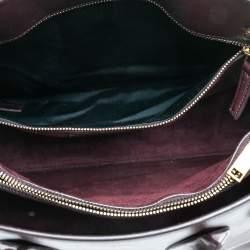 Saint Laurent Burgundy Leather Small Classic Sac De Jour Tote