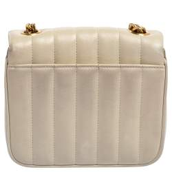 Saint Laurent Cream Quilted Leather Small Vicky Shoulder Bag