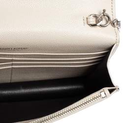 Saint Laurent White Grained Leather Kate Wallet on Chain