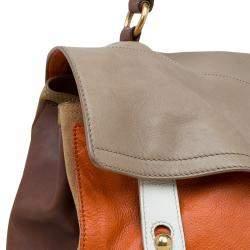 Saint Laurent Paris Tri Color Leather Large Muse Two Top Handle Bag