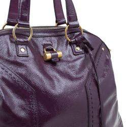 Saint Laurent Paris Purple Patent Leather Oversized Muse Tote