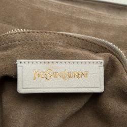 Yves Saint Laurent Beige/White Fabric Medium Muse Two Satchel
