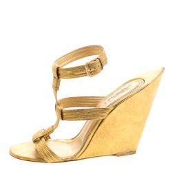 Saint Laurent Paris Metallic Gold Leather Venice Sculpted Wedge Sandals Size 40