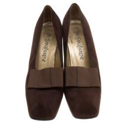 Saint Laurent Paris Brown Suede Bow Vintage Block Heel Pumps Size 38