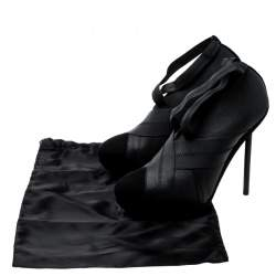 Saint Laurent Black Suede And Elastic Bandage Booties Size 39.5