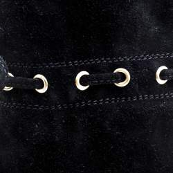 Saint Laurent Paris Black Suede Chelsea Tassel Knee Boots Size 36
