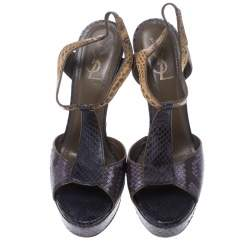 Saint Laurent Paris Multicolor Python T Strap Platform Sandals Size 40