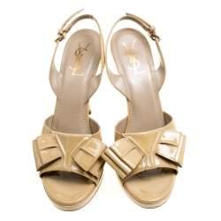 Saint Laurent Paris Beige Patent Leather Y Bow Platform Singlback Sandals Size 40