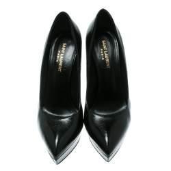 Saint Laurent Paris Black Textured Leather Classic Janis Platform Pumps Size 40