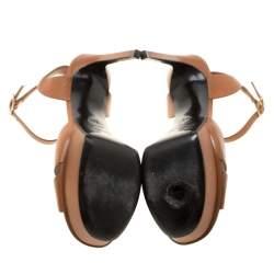Saint Laurent Paris Brown Leather Bianca Platform Sandals Size 38.5