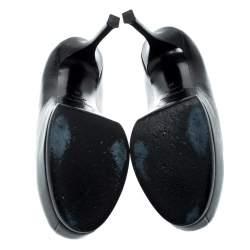 Saint Laurent Paris Black Leather Tribtoo Platform Pumps Size 40