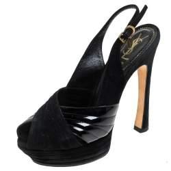 Saint Laurent Paris Black Criss Cross Suede and Patent Leather Slingback Platform Sandals Size 40