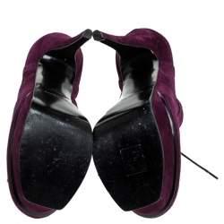 Saint Laurent Paris Purple Brogue Suede Janis Platform Booties Size 37