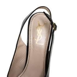 Saint Laurent Paris Black Leather Tribtoo Slingback Platform Sandals Size 38