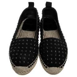 Saint Laurent Paris Black Canvas Embellished Espadrilles Size 38.5