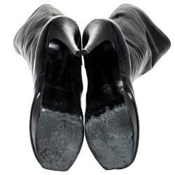 Saint Laurent Paris Black Leather Tribute Mid Calf Boots Size 40