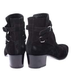 Saint Laurent Paris Black Suede Double Buckle Ankle Boots Size 40