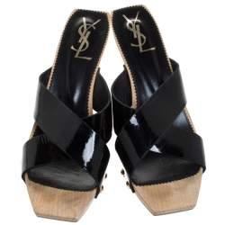 Saint Laurent Black Patent Leather Studded Cross Strap Platform Sandals Size 40