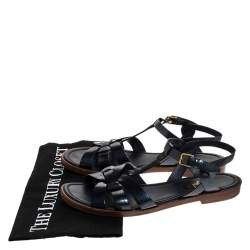 Saint Laurent Paris Navy Blue Patent Leather Tribute Ankle Strap Flat Sandals Size 36